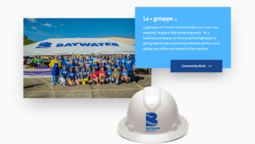 collage showing hard hat, group photo of Baywater employees, and website screenshot