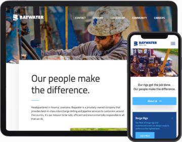 screenshots of baywater websites on digital tablet and smartphone