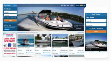Boat Trader desktop and mobile homepages.