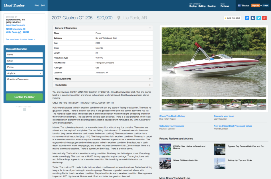 Boat listing page.
