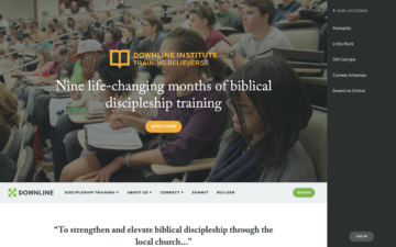 Downline Ministries homepage.