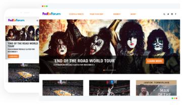 FedExForum mobile and desktop homepages.