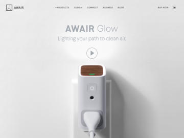 Awair Glow homepage screenshot