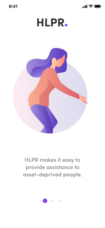 screenshot of hlpr app onboarding 1 of 3
