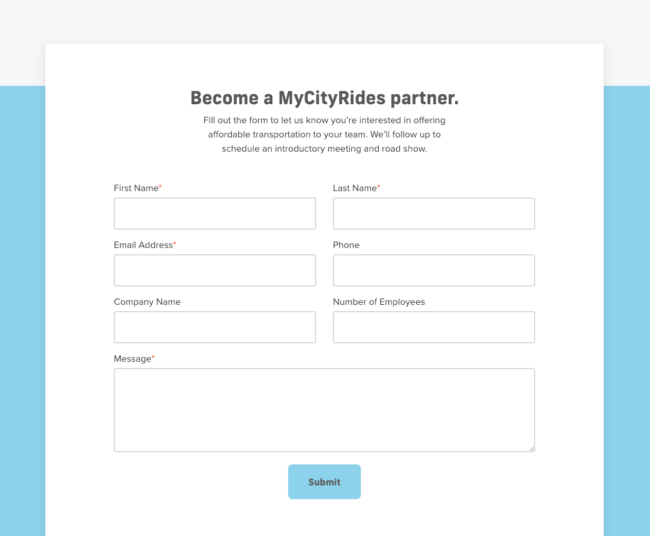 The MyCityRides partner form.