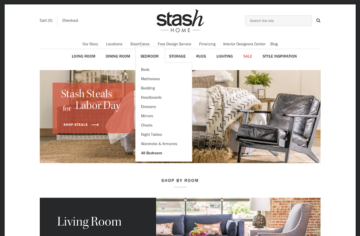Stash Desktop homepage with dropdown menu.