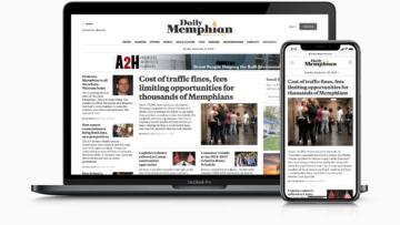Daily Memphian mobile and desktop homepage screenshots.